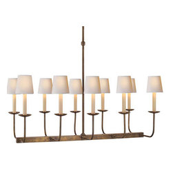 "TT Linear Branched 10-Light Chandelier - By Sandy Chapman. Dimensions: 52""Overall H. 19""H x 36""L x 20""W x 5.25""Canopy. Shades sold separately. Available in hand-rubbed antique brass, antique nickel, bronze, or polished nickel finish."