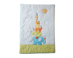 The Little Acorn - Funny Friends Quilt - Funny Friends coverlet has beautifully hand crafted applique's and embroideries of wild animals and their unusual little friends. This popular nursery crib bedding collection makes the best Unisex nursery room decor with matching wall art, storage bins, blankets, and decorative pillows. Ideal for those who don't know the gender of their baby. Perfect for monogramming and personalizing. Expertly hand tufted with 100% polyester hypoallergenic fill. Reverse of coverlet has pole pocket at top for display option. Machine washable -100% pure cotton percale. Made in China
