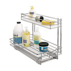 Lynk - Roll-Out Undersink Drawer in Chrome Finish (S - Choose Size: Small: 11 W x 18 D x 14 H (9.82 lbs.)Includes hardware. Elevated top drawer includes a durable, removable liner to hold wet sponges and brushes. Patents pending. Lifetime of trouble-free use. Industrial-grade ball bearing glides ensure smooth gliding even under the heaviest loads. Made from chrome and steel. Assembly InstructionLynk Professional Roll-Out UnderSink Drawer is the perfect solution for organizing those difficult areas under the sink. Lynk products offer great storage solutions for the kitchen, pantry, closet, laundry, bath and garage.