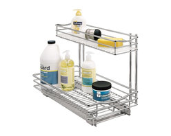 Lynk - Roll-Out Undersink Drawer, Chrome Finish - Choose Size: Small: 11 W x 18 D x 14 H (9.82 lbs.)Includes hardware. Elevated top drawer includes a durable, removable liner to hold wet sponges and brushes. Patents pending. Lifetime of trouble-free use. Industrial-grade ball bearing glides ensure smooth gliding even under the heaviest loads. Made from chrome and steel. Assembly InstructionLynk Professional Roll-Out UnderSink Drawer is the perfect solution for organizing those difficult areas under the sink. Lynk products offer great storage solutions for the kitchen, pantry, closet, laundry, bath and garage.