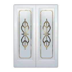 """Interior Glass Doors - Frosted Semi Private FAUX BEVELS - CUSTOMIZE YOUR INTERIOR GLASS DOOR!  Interior glass doors ship for just $99 to most states, $159 to some East coast regions, custom packed and fully insured with a 1-4 day transit time.  Available any size, as interior door glass insert only or pre-installed in an interior door frame, with 8 wood types available.  ETA will vary 3-8 weeks depending on glass & door type.........Block the view, but brighten the look with a beautiful interior glass door featuring a custom frosted glass design by Sans Soucie!   Select from dozens of sandblast etched obscure glass designs!  Sans Soucie creates their interior glass door designs thru sandblasting the glass in different ways which create not only different levels of privacy, but different levels in price.  Bathroom doors, laundry room doors and glass pantry doors with frosted glass designs by Sans Soucie become the conversation piece of any room.   Choose from the highest quality and largest selection of frosted decorative glass interior doors available anywhere!   The """"same design, done different"""" - with no limit to design, there's something for every decor, regardless of style.  Inside our fun, easy to use online Glass and Door Designer at sanssoucie.com, you'll get instant pricing on everything as YOU customize your door and the glass, just the way YOU want it, to compliment and coordinate with your decor.   When you're all finished designing, you can place your order right there online!  Glass and doors ship worldwide, custom packed in-house, fully insured via UPS Freight.   Glass is sandblast frosted or etched and bathroom door designs are available in 3 effects:   Solid frost, 2D surface etched or 3D carved. Visit our site to learn more!"""