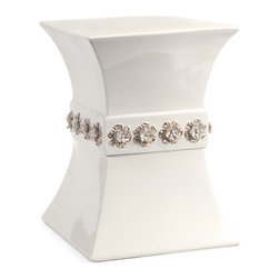 IMAX CORPORATION - Luca Ceramic Garden Stool - This soft cream colored garden stool features an hourglass shape and a band of hand crafted dimensional flower accents. Find home furnishings, decor, and accessories from Posh Urban Furnishings. Beautiful, stylish furniture and decor that will brighten your home instantly. Shop modern, traditional, vintage, and world designs.
