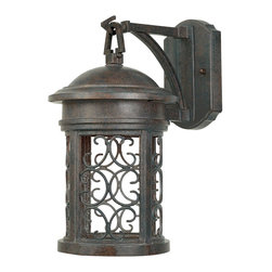 Designers Fountain - Designers Fountain Ellington Dark Sky Traditional Outdoor Wall Sconce X-PM-11113 - No stylish home should be without this Designers Fountain Ellington Dark Sky Traditional Outdoor Wall Sconce. It has a cast aluminum frame in an attractive, Mediterranean patina finish with a delicate pattern of scroll grill work. It's a one-light, 13-inch-tall piece that's sure to cast emits a soft inviting light in any outdoor space.