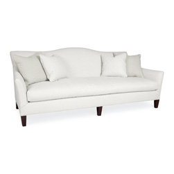 Tilde Bench Seat Sofa in Patton White - The sleek, casual look of a single bench-style seat cushion brings both coziness and polish to this sofa, which comfortably seats three when in use and displays an uninterrupted panel of your upholstery when empty. The tightly upholstered upright has a slight camel-back effect like that of traditional couches, while the arms curve slightly outward for a note of spaciousness and a hint of formality in your room. Square pyramid feet support the sofa in style.