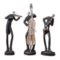Uttermost - Uttermost Musicians Sculpture in Dark Chestnut Brown - Shown in picture: Slate Gray With Silver Plated Accents And Dark Chestnut Brown Bases. These fun statues are finished in slate gray with silver plated accents and dark chestnut brown bases. Sizes:Sm-5x15x5 - Med-6x15x4 - Lg-5x18x5
