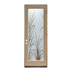 Sans Soucie Art Glass (door frame material Plastpro) - Glass Front Entry Door Sans Soucie Art Glass Wispy Reeds - Sans Soucie Art Glass Front Door with Sandblast Etched Glass Design. Get the privacy you need without blocking light, thru beautiful works of etched glass art by Sans Soucie! This glass is semi-private.  (Photo is view from outside the home or building.)  Door material will be unfinished, ready for paint or stain.  Bronze Sill, Sweep and Hinges. Available in other finishes, sizes, swing directions and door materials.  Dual Pane Tempered Safety Glass.  Cleaning is the same as regular clear glass. Use glass cleaner and a soft cloth.