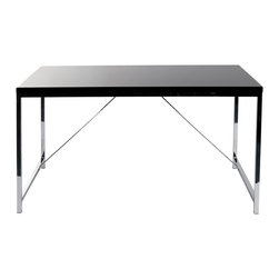 Euro Style - Euro Style Gilbert Desk X-03572 - Gilbert designs office furniture with excellent bones.  Strength and functionality come together in a line of basic office pieces that are hard-working, long lasting, and no nonsense classics.  Seriously. The steel frame on this desk is like a rock. And supporting cross ties make it even stronger.  Choose white or black high gloss top and you've got a desk worth reflecting upon.