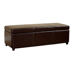 Baxton Studio Philostrate Leather Storage Ottoman Bench - Dark Brown - The Baxton Studios Philostrate Leather Storage Ottoman Bench - Dark Brown offers extra room for sitting or putting up your feet, as well as generous storage space inside. Constructed with a sturdy kiln-dried hardwood frame and solid rubberwood feet, this versatile ottoman boasts a casual, contemporary style with panel stitching along the top and sides. High-density foam padding ensures comfort, while the hinged lid allows for easy opening and closing. It's upholstered in dark brown bi-cast leather, which is smooth, durable, and easy to clean.About Baxton StudiosThis item is designed and manufactured by Wholesale Interiors, Inc., a furniture company based near Chicago. A lot goes into the making of furniture, and it all starts with attention to details. They hand select their unique line of leather and micro-fiber fabrics. Their furniture is padded with high polyurethane foam to create the body contouring comfort and support for which Baxton Studios is famous. All frames are constructed of high quality wood or steel on select models, providing sturdy frame construction that exceeds industry standards. Wholesale Interiors, Inc. is committed to constantly providing stylish and unique furniture for the best value to help you create a comfortable living space with ease and confidence.