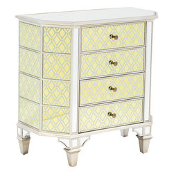 Colwyn 4 Drawer Cabinet - The beautifully mirrored surface features a diamond motif vinyl applique that will dazzle next to your bedside or any place that needs a glamorous touch. With a hand painted trim and enough room for storage, this is the perfect combination of versatility and style.