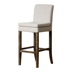 Abbyson Living - Princeton Linen Bar Stool, Light Beige - Upscale and casual, the Lara Linen Bar Stool - in beige brings comfort and style home. This bar stool features a plush, padded seat and back upholstered in crisp beige linen. It stands on exposed wood legs with a natural finish that is distressed to shabby chic perfection.