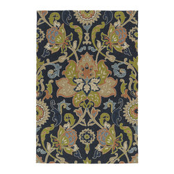None - Indoor/ Outdoor Fiesta Navy Flower Rug (3' x 5') - This Fiesta indoor/outdoor rug is luxurious and durably made to be a wonderful addition in and around your home. UV protection,mildew resistance and a special non-skid backing are the highlights of this incredible area rug.