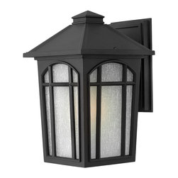 Hinkley Lighting - Cedar Hill Medium Outdoor Wall Lantern - Hi honey, you're home! That's what this lamp says to you as you walk up your pathway. The linen glass softens the light glowing through the arched window panes to brighten your evening and distinguish your home.