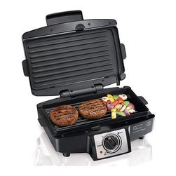 Hamilton Beach - Hamilton Beach - Easy-Clean Indoor Grill w Re - Removable grids are dishwasher safe. Brushed stainless steel accents. Nonstick surface opens flat to a 110 square inch grill. Select timer or stay on. Cooks most meals in 10 minutes or less