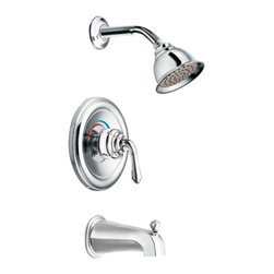 "Moen - Moen T3129 Chrome Moentrol Tub/Shower Valve Trim 2-Function Pressure Cartridge - Moen T3129 is part of the Monticello bath collection. Moen T3129 is a new bathroom decor style by Moen. Moen T312"" has a Chrome finish. Moen T3129 Moentrol Tub and Shower valve only trim fits any MPact common valve system or MPact Moentrol 1/2"" Valve. Valve sold separately. Moen T3129 is part of the Monticello bath collection with its simple beauty and elegant lines this collection brings a timeless design into any homes decor. Moen T3129 Tub and Shower valve trim includes dual-function pressure balancing Cartridge. Moen T3129 is a single handle Tub and Shower valve trim only, the handle adjusts temperature and volume. Moen T3129 valve only single handle trim provides for ease of operation. Moen T3129 Moentrol pressure balancing valve maintains water pressure and controls temperature. Moen T3129 includes Moen single function Showerhead 2.5 GPM max., and a 6"" slip fit diverter tub spout. Moen T3129 is ADA approved. Chrome is a proven finish from Moen and provides style and durability. Moen T3129 metal lever handle meets all requirements ofADA ICC/ANSI A117.1 and CSA to meet CSA B-125, ASME A112.18.1 M. Lifetime Limited Warranty."