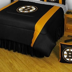 Sports Coverage - Boston Bruins Bedding - NHL Sidelines Comforter and Sheet Set Combo - Queen - This is a great NHL Boston Bruins Bedding Comforter and Sheet set combination! Buy this Microfiber Sheet set with the Comforter and save off our already discounted prices. Show your team spirit with this great looking officially licensed Comforter which comes in new design with sidelines. This comforter is made from 100% Polyester Jersey Mesh - just like what the players wear. The fill is 100% Polyester batting for warmth and comfort. Authentic team colors and logo screen printed in the center.   Microfiber Sheet Hem sheet sets have an ultrafine peach weave that is softer and more comfortable than cotton.  Its brushed silk-like embrace provides good insulation and warmth, yet is breathable.  The 100% polyester microfiber is wrinkle-resistant, washes beautifully, and dries quickly with never any shrinkage. The pillowcase has a white on white print beneath the officially licensed team name and logo printed in vibrant team colors, complimenting the NEW printed hems. The Teams are scoring high points with team-color logos printed on both sides of the entire width of the extra deep 4 1/2 hem of the flat sheet.  Includes:  -  Flat Sheet - Twin 66 x 96, Full 81 x 96, Queen 90 x 102.,    - Fitted Sheet - Twin 39 x 75, Full 54 x 75, Queen 60 X 80,    -  Pillow case Standard - 21 x 30,    - Comforter - Twin 66 x 86, Full/Queen 86 x 86,