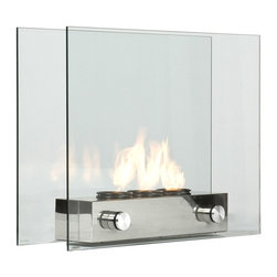 Holly & Martin - Hudson Portable Indoor/Outdoor Gel Fireplace - 8 mm. tempered glass with brushed nickel base. Holds up to three cans of FireGlo gel fuel. Portable indoors and out. Made in Taiwan. Made from glass and metal. Assembly required. 32 in. W x 9.25 in. D x 24 in. H (51 lbs.). Assembly InstructionSheer modern elegance wrapped up in a unique portable gel fireplace. The glass panels provide an unobstructed view of the magnificent flame while adding a modern loft appearance. The gel fuel can be replaced with decorative pillar candles when you don't want so much heat by using the included snuffer cover. All of your guests are sure to compliment you on such an eye catching piece.