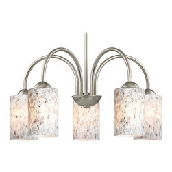 Design Classics Lighting - Chandelier with Grey Art Glass in Satin Nickel Finish - 591-09 GL1025C - Transitional satin nickel 5-light chandelier with mistral grey cylinder art glass shades. Takes (5) 100-watt incandescent A19 bulb(s). Bulb(s) sold separately. UL listed. Dry location rated.