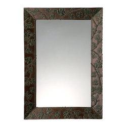 BlindSpot Mirrors - Rose scented geranium leaves on handmade mirror frame.