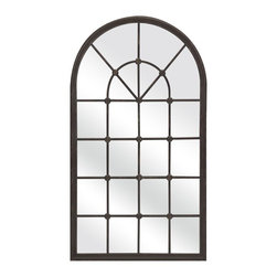 IMAX - Barnett Metal Mirror - Not enough windows or architectural detail? Offer an affordable design solution with a metal mirror in the shape of a window. Added bonus: The reflective quality of the mirror will bounce light and make any space appear larger.
