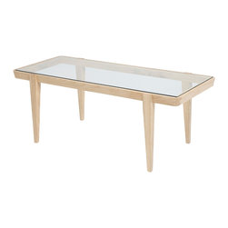 Studiomoe - Oslo Lake Coffee Table - Add balance to your home or office.  The clear complexion of a glass surface brings flow, making small spaces look larger, and larger spaces more expansive.  Handcrafted dovetail joints and clean modern lines blend warmth with light. Our natural design is built to thrive in any style decor.