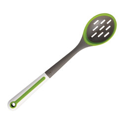 Chef'n Freshforce Silcone Slotted Spoon - Don't let your food fall down the drain. The Chef'n FreshForce Silicone Slotted Spoon has perfectly sized slits for scooping  draining  rinsing and straining. The silicone edge makes this spoon safe for non-stick cookware too.Product Features                    Silicone scraper edge          400°F (204°C) heat resistant working end          Safe for non-stick cookware          Top-rack dishwasher safe