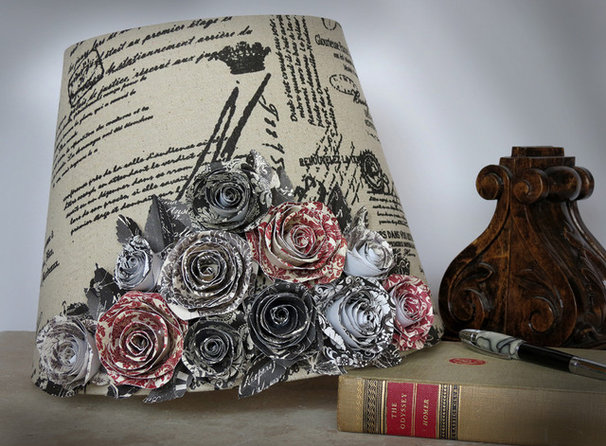 Traditional Lamp Shades French Country Lamp Shade with Handmade Paper Rose Bouquet - by AussieSense