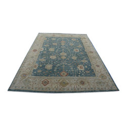10x14 Blue Oriental Rug, Natural Dyes Hand Knotted 100% Wool Oushak Rug SH14217 - Hand Knotted Oushak & Peshawar Rugs are highly demanded by interior designers.  They are known for their soft & subtle appearance.  They are composed of 100% hand spun wool as well as natural & vegetable dyes. The whole color concept of these rugs is earth tones.