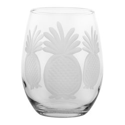 Rolf Glass - Pineapple Tumbler, Clear, 15 Oz. - Welcome guests with this traditional symbol of hospitality. Each piece is diamond-wheel engraved.  Dishwasher safe.  Made in USA.