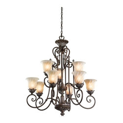 KICHLER - KICHLER Sarabella Traditional 9-Light Chandelier X-ZL11524 - European flair at its finest, this beautiful Kichler Lighting chandelier features exaggerated scrolling arms, warm finishes and eye-catching details. From the Sarabella Collection, it features two tiers of nine lights housed in beautiful swirled and ribbed glass shades. A rich Legacy Bronze finish highlights all the finer details, completing the look.