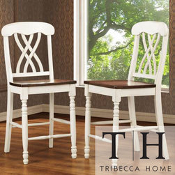 Tribecca Home - TRIBECCA HOME Mackenzie White Counter Height Chair (Set of 2) - These Mackenzie antique counter-height chairs feature a charming two tone effect in distressed white with contrasting cherry seats. The comfortable counter height makes these vine-back chairs an excellent choice for a high kitchen table or breakfast bar.