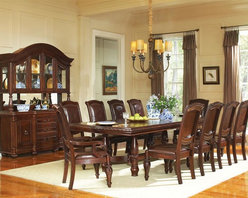 """Steve Silver Co. - Antoinette Double Pedestal Dining Set - Includes table and four side chairs. Curio cabinet not included. Arm chair not included. Table with 24 in. leaf. Traditional style. Chair with bicast leather upholstery on seat and back. Corner block construction. Made from solid wood. Multi-step rich cherry finish. Made in Vietnam. Seat height: 18 in.. Chair overall: 27 in. W x 26 in. D x 44 in. H (29.5 lbs.). Table Minimum: 96 in. L x 48 in. W x 31 in. H. Table Maximum: 120 in. L x 48 in. W x 31 in. HThe Antoinette Side Chairs feature detailed hand carvings, bicast leather upholstery and cherry and mahogany burl inlays in the chair backs giving it the look and feel of an antique. With dramatic hand carved legs and generous proportions, the Antoinette Extended Leg Dining Table with 24"""" Leaf is beautifully crafted from mahogany, cherry, and veneers with a hand-planed surface and hand carved edges. The Steve Silver AY200T - Antoinette Extended Leg Dining Table with 24"""" Leaf has a distressed finish, giving it the look and feel of an antique."""