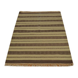1800-Get-A-Rug - Striped Flat Weave Durie Kilim Hand Woven 100% Wool Oriental Rug Sh17287 - The Flat Weave hand woven rug is a type of area rug created by weaving wool onto a foundation of cotton warps on a loom. The Flat Weave rug offers the same beauty and durability as the classical thick-pile Oriental rugs, but without the telltale thick pile often spotted in other rugs. This gives the Flat weave a thin and flat appearance which resembles the Needlepoint, making them wonderfully ideal choices as accent rugs, wall hangings, or to drape over furniture and staircases.