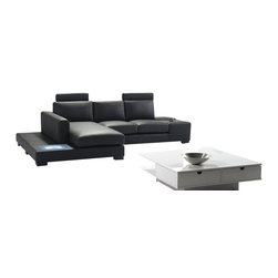 VIG Furniture - T35 Mini Black Bonded Leather Sectional Sofa With Built-in Lighting - The T35 Mini sectional sofa will be the perfect addition for any smaller area looking for a touch of modern design. This sectional comes upholstered in a beautiful black bonded leather in the front where your body touches. Skillfully chosen match material is used on the back and sides where contact is minimal. High density foam is placed within the cushions for added comfort. The sectional features a built in light on the side of the chaise that adds to the ambiance of the room. The headrests shown do NOT come included with the sectional and can be added for an additional fee.
