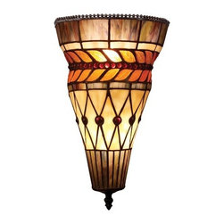 ELK Lighting - ELK Lighting 70084 Glass Leaf Two-Light Sconce in Bronze - With An Attractive Pattern Of Brown And Olive Tones, The Glass Leaf Collection Is A Refined Series Of Art Glass Arranged Into Layered Motifs.The Highlight Of This Series Is The Banding Of Cast Glass Leaves That Have A Beaded Center Stem That Separates The Two Rows Of Leaves.Finished In Tiffany Bronze, The Neutral Tones Blend With A Myriad Of Room Settings.Specifications: