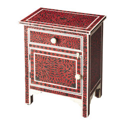 Butler Specialty - Butler Kayla Bone Inlay Chairside Chest - This captivating Chairside Chest, crafted from select solid woods and wood products, features sophisticated artistry and consummate craftsmanship. The botanic patterns covering the piece stem to stern are created from bone inlays dyed black and applied individually in a field of red by the hands of a skillful artisan. The white frames and borders are also hand-applied bone inlays. No two chests are ever exactly alike, ensuring this piece will settle into its space as a bonafide original.