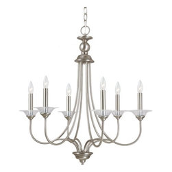 Sea Gull Lighting - Sea Gull Lighting 31318 Lemont Six Light Candelabra Chandelier with Clear Glass - The Lemont Collection has the essence of classic style stripped of excessive ornamentation for a clean neo-contemporary that will enhance the style of your home without too much damage to your bank account.Features: