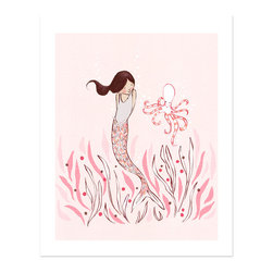 Sarah Jane Studios - Mermaid & Octopus, 11x14 - This fine art print is created from a hand drawn & digitally colored illustration signed by Sarah Jane. Each illustration is printed with a gicl̩e fine art printing process on archival museum quality paper.
