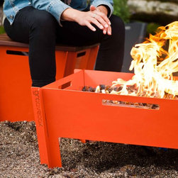 Groovebox Fire Pit 2.0 - The Groovebox Collection, designed by Eric Green, manifests modularity, functional usability, material honesty, and flat pack design. The simple multifunctional object can be used as a fire pit, table, stool, and planter for both outdoors and indoors. Groovebox defines a sculptural focal point for a variety of public and private spaces.