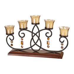 5 Votive Wood Runner Candle Holder-Candelabra - This piece is the essence of what a truly elegant centerpiece for your table is or should be. This Candle gift set will make the perfect complement to anyone's home, and looks stunning while flickering in the center of a living room. This Candle centerpiece has a timeless and classic styling rich in color. The bangle dangle elements blend both the traditional and modern to create a truly unique and stand-alone piece. When people ask, and they will ask, where you got yours from.
