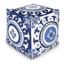 Cobalt Geo Floral Pouf - Bold blues, scalloped petals, and crisp fields of bright white make the Cobalt Geo Floral Pouf a dramatic selection for adding moody yet glorious shadow shades to a light-colored room or for bringing a blue-ruled palette into a daring global style.  Made in India with a cotton cover and piped edges, this simple piece makes an alluring casual seat.