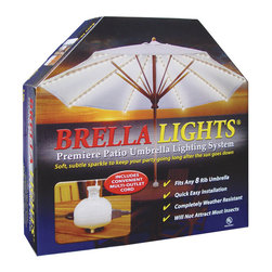 """Blue Star Group - BRELLA LIGHTS - Patio Umbrella Lighting System With Power Pod - (8 Rib) - Keep The Party Going Long After The Sun Goes Down """" with the innovative outdoor lighting that easily attaches to the ribs of any 5-rib patio umbrella.   In minutes, BRELLA LIGHTS creates an alluring festive or romantic atmosphere to Set The Mood"""" for any after dark patio or deck activity.  A one-time installation will provide the right amount of soft, subtle light at tabletop - On-Demand.  No need for recharging, costly battery replacement or light fixture storage.  Our POWER POD"""" feature clips to the pole and offers additional electrical outlets for your favorite appliances.  With the convenience of our appealing IN-LINE light design and the Power Pod"""" receptacle at tabletop you can read, watch TV, listen to music, or blend a smoothie while enjoying late night gatherings with family and friends.  BRELLA LIGHTS are designed to stay on the umbrella when it is closed, opened, or stored.  If any of the 160 bulbs burn out the rest of the lights remain lit.  U.L. Listed For Outdoor Use."""
