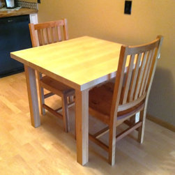 """Maple/Rustic Cherry """"Mission"""" Kitchen Table - For the kitchen, a two-tone """"Mission"""" designed with an extra-thick top milled from the thickest available lumber fits perfectly. With a strong presence, small sizes have a big impact."""