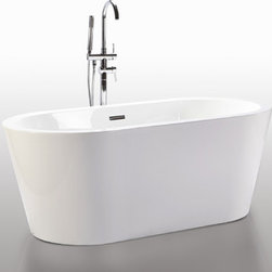 "HelixBath Pella Freestanding Acrylic Bathtub 59"" White w/ Rectangle Overflow - Designs created for bathing purists. The curves and lines are well conceived & uncomplicated. Helixbath�s well tailored soaking tubs provide an ergonomic comfortable spa experience. Featuring an easy to clean 3M Fade Resistant finish and stainless steel frame, Pella is the very definition of beautiful longevity. Smooth lineal side lines meet precisely curved angled ends. Pella has been hailed the most sophisticated contemporary curved design in the Helix line. Faucets pictured are for display purposes and not included with this tub."