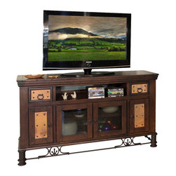 Artisan Home Furniture - Artisan Home Valencia 63 Inch Small TV Stand - The copper is hand hammered and fired just like the old world tradition. The firing gives the copper its many variations and makes each piece a work of art. No panels will match, but the entire collection blends together. Copper has been protected with a final clear lacquer coating. Selected pine a great value. Enhances old world look and protects wood. Provides additional strength on drawers. Makes sturdy and durable quality cases. Full view and smooth glide on drawers. Function and value.
