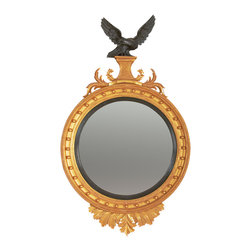English Georgian America - Regency Eagle Convex Mirror - A Regency style carved giltwood convex looking glass with ebonised inner slip and ball decorated moulded frame. The ebonised eagle cresting sits upon a tapered and reeded plinth flanked by scrolling acanthus leaves and with a leaf carved apron.