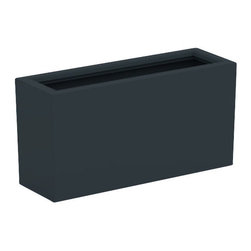 Aberdeen Planter, Charcoal, Small - Modernize your home with the sleek Aberdeen Planter. Featuring strong lines and vivid custom coloring, this garden container will take center stage in any indoor/outdoor space. This modern patioplanter is made from a non-toxic food grade polymer based fiberglass resin; it will never rot, mildew, split, cup or warp. It can brave brutal summers and harsh winters without diminishing in appearance. These attributes are backed up by a lifetime warranty against corrosion. Whether exposed to salt water, or the everyday wear & tear from home or commercial use, its gel coat maintains a beautiful finish no matter how tough the conditions get.