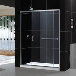 """Bath Authority DreamLine - Bath Authority DreamLine Infinity-Z Frameless Sliding Shower Door (56 to 60"""") - The Infinity-Z sliding shower door delivers a classic design with a fresh attitude. Features of convenience like a handy towel bar and fast release wheels that make cleaning the glass and track a cinch are combined with the modern appeal of a frameless glass design. Choose the simply sophisticated style of the Infinity-Z sliding shower door. Features 56-60"""" W x 72"""" H 1/4"""" (6 mm) clear or frosted tempered glass Chrome or brushed nickel finish hardware Frameless glass design Width installation adjustability: 56-60"""" Out-of-plumb installation adjustability: Up to 1"""" per side Anodized aluminum profiles and guide rails Fashionable towel bar on the outside panel provides additional storage space Aluminum top and bottom guide rails may be shortened by cutting up to 4"""" Door opening: 21-3/8 - 25-3/8"""" Stationary panel: 27"""" Reversible for """"right"""" or """"left"""" door opening installation Material: Tempered Glass, Stainless Steel Optional SlimLine shower base and backwalls available Tempered glass ANSI certified Optional SlimLine shower base and shower backwalls available Limited 5 (five) year manufacturer warranty Information regarding the return policy of your DreamLine(TM) product is available here. If you have any questions, please contact us before ordering. Review the technical drawing here"""