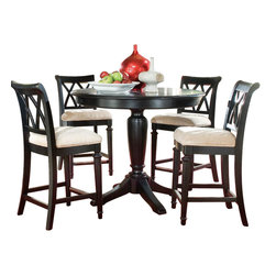 American Drew - American Drew Camden-Dark 5 Piece Bar Height Ped Dining Room Set in Black - The Camden-Dark accents simple forms with quiet traditional references, gentle curves and a beautiful rustic black finish that lets the character of the wood show through. The brushed nickel finish hardware adds even more character to Camden. This collection will work great in most any setting. Create an urban rustic loft, a classic antique look or a mountain vacation home.