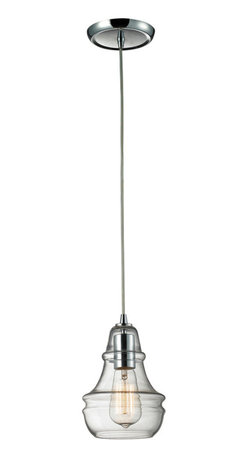 Industrial Polished Chrome Blown Glass Mini Pendant Lighting Fixture Kitchen - Industrial inventions of yesteryear are reclaimed and reinterpreted to deliver the style demands of today. Classic filament style bulbs are showcased within clear blown glass shades. A polished chrome finish adds authentic charm and versatility to this pendant.