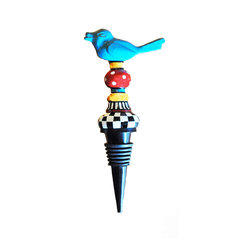 Metal Bird Stopper - Preserve the life of your favorite wine after you open it with this colorful bottle stopper. The whimsical blue bird perched on top guards the grapes until you're ready to have another drink.